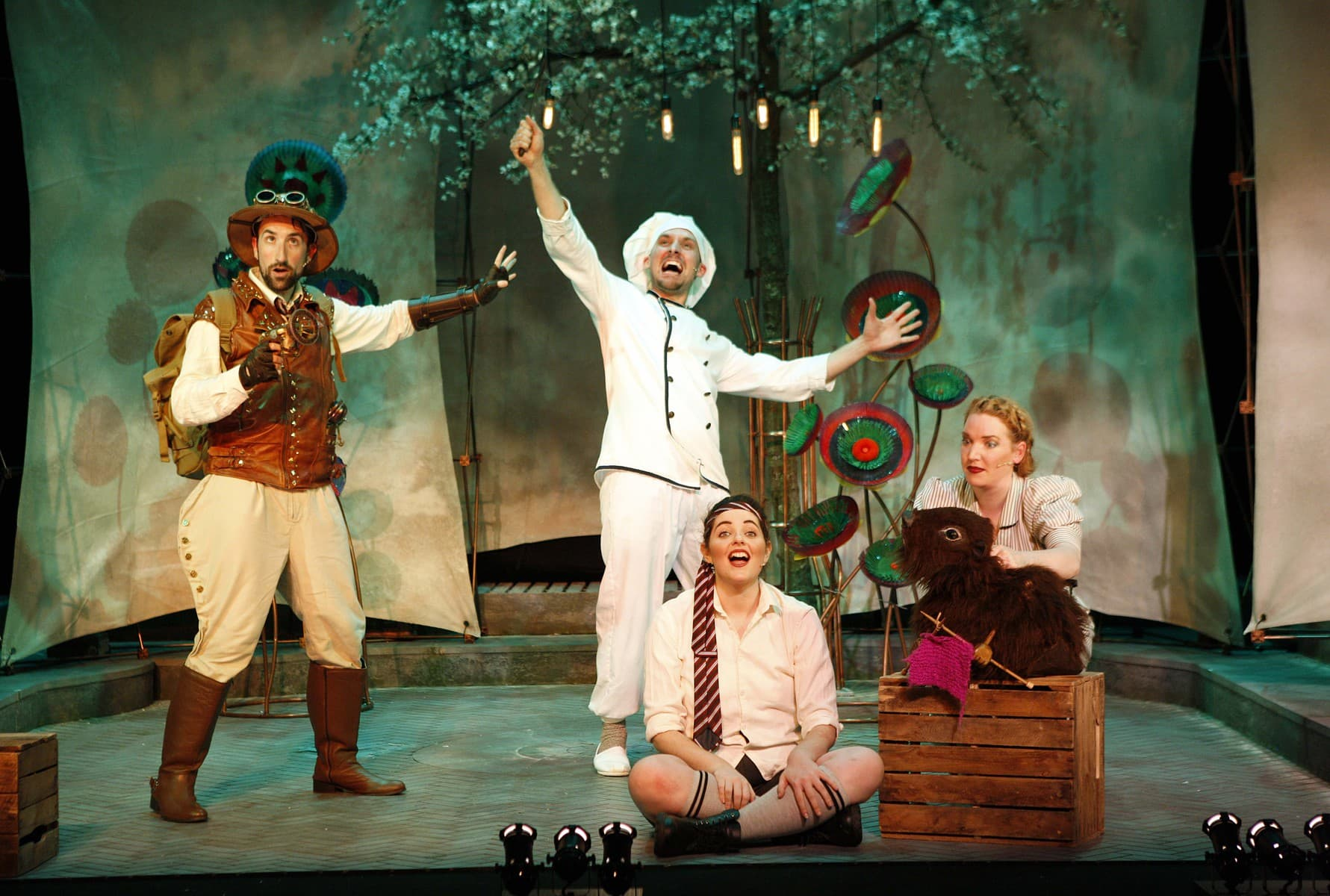 The Hunting of the Snark Vaudeville Theatre Ben Galpin (The Bellman), Will Bryant (Baker), Jordan Leigh-Harris (Boy) & Polly Smith (Beaver) Credit Simon Annand